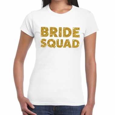 Bride squad glitter tekst t-shirt wit dames