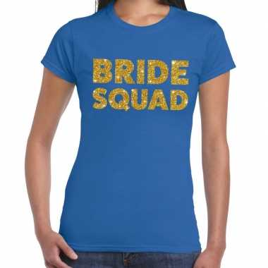 Bride squad gouden glitter tekst t-shirt blauw dames