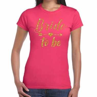 Bride to be cupido goud glitter t-shirt roze dames