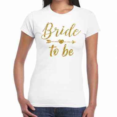 Bride to be cupido goud glitter t-shirt wit dames