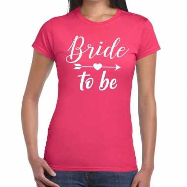 Bride to be cupido t-shirt roze dames