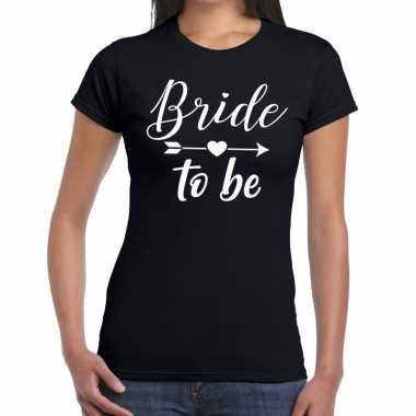 Bride to be cupido t-shirt zwart dames