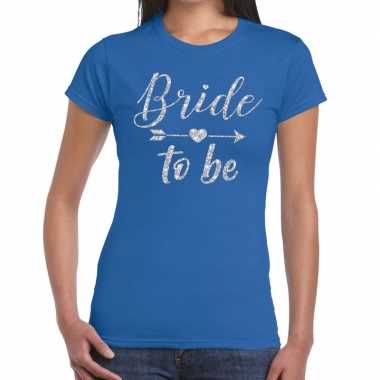 Bride to be cupido zilver glitter t-shirt blauw dames