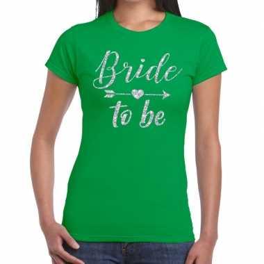 Bride to be cupido zilver glitter t-shirt groen dames
