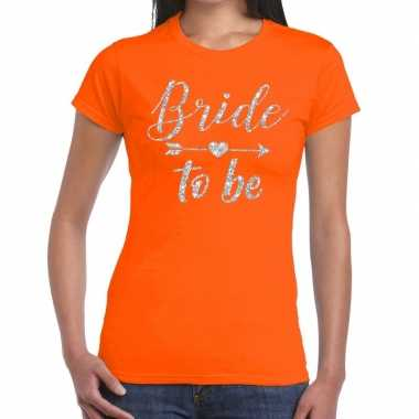 Bride to be cupido zilver glitter t-shirt oranje dames