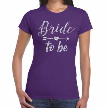 Bride to be cupido zilver glitter t-shirt paars dames
