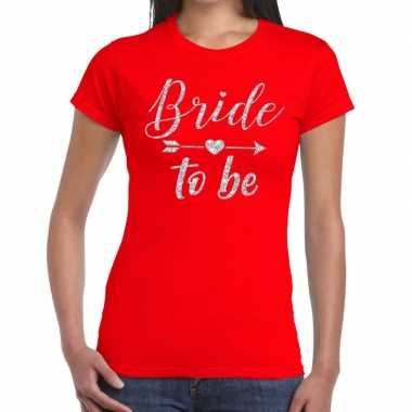 Bride to be cupido zilver glitter t-shirt rood dames