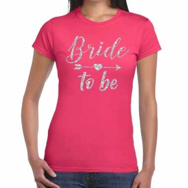 Bride to be cupido zilver glitter t-shirt roze dames