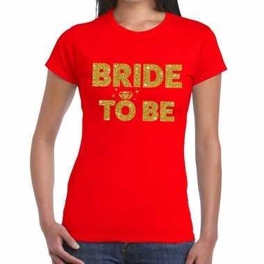 Bride to be glitter tekst t-shirt rood dames