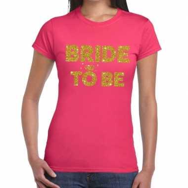 Bride to be glitter tekst t-shirt roze dames