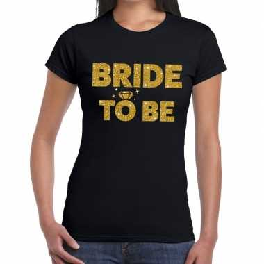 Bride to be glitter tekst t-shirt zwart dames