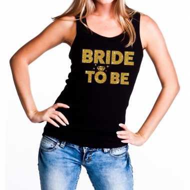 Bride to be gouden tekst tanktop / mouwloos shirt zwart dames