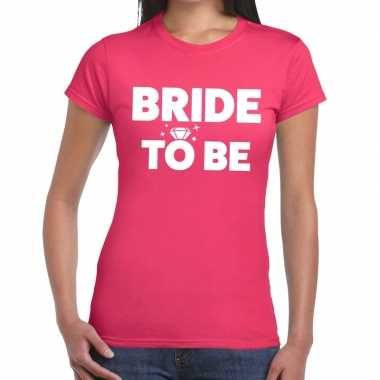 Bride to be tekst t-shirt roze dames