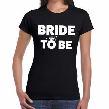 Bride to be tekst t-shirt zwart dames