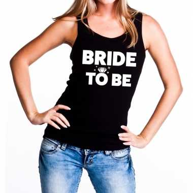 Bride to be tekst tanktop / mouwloos shirt zwart dames