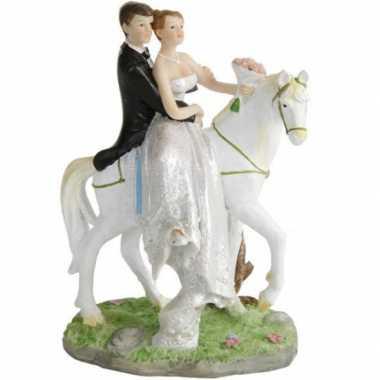 Bruidspaar te paard taart decoratie 15 cm
