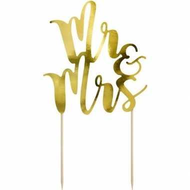 Bruidstaart decoratie topper mr & mrs goud 25 cm