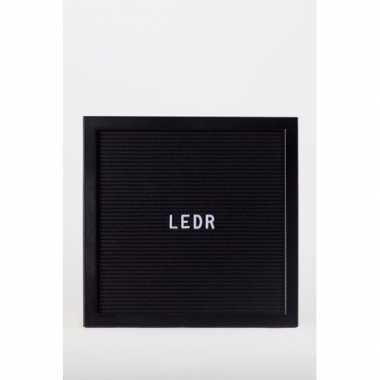 Bruiloft deco letterbord met letters zwart/zwart 30 x 30 cm