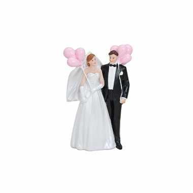 Bruiloft figuurtjes 14 cm roze bloemen