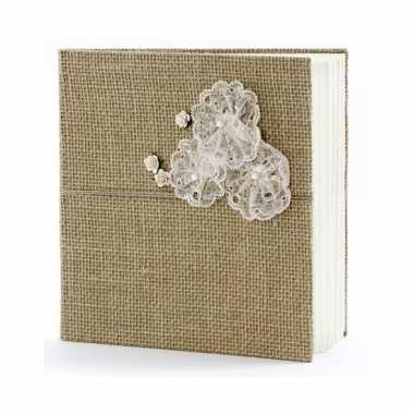 Bruiloft gastenboek van jute 20,5 cm