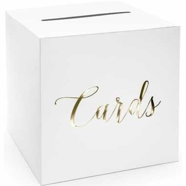 Bruiloft/huwelijk enveloppendoos wit/goud cards 24 cm