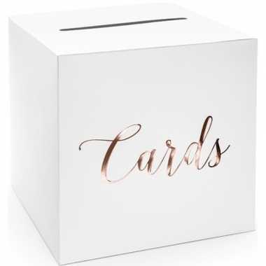 Bruiloft/huwelijk enveloppendoos wit/rosegoud cards 24 cm