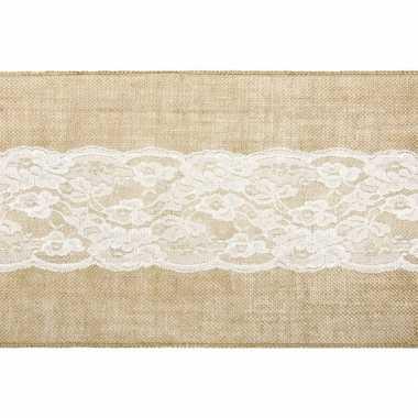 Bruiloft/huwelijk jute tafelloper 28 x 275 cm met wit kant