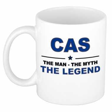 Cas the man, the myth the legend cadeau koffie mok / thee beker 300 ml