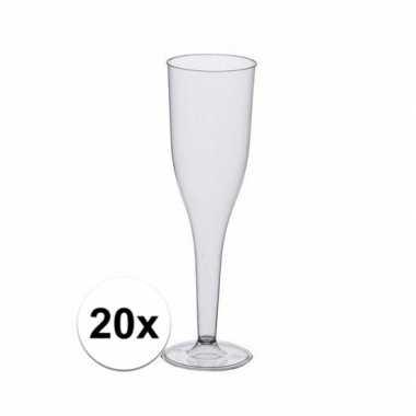 Champagne glazen van polystyreen20 stuks
