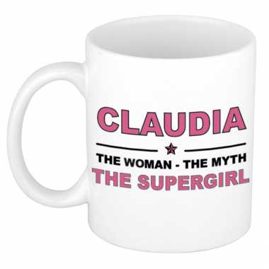 Claudia the woman, the myth the supergirl cadeau koffie mok / thee beker 300 ml