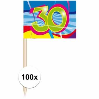 Cocktail prikkers 30 jaar 100 stuks