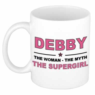 Debby the woman, the myth the supergirl cadeau koffie mok / thee beker 300 ml