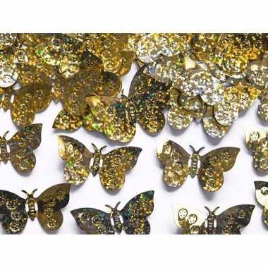 Decoratie confetti gouden vlinders 30 gram