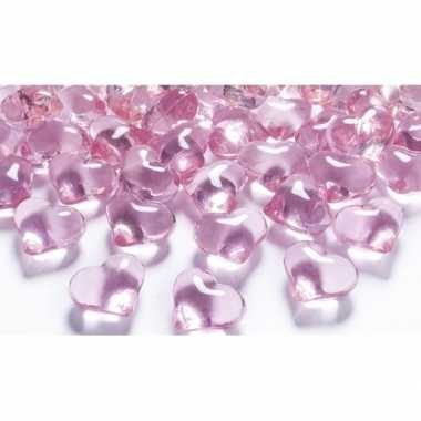 Decoratie hartjes diamantjes lichtroze