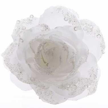 Decoratie kunstbloem roos bloem winter wit 14 cm