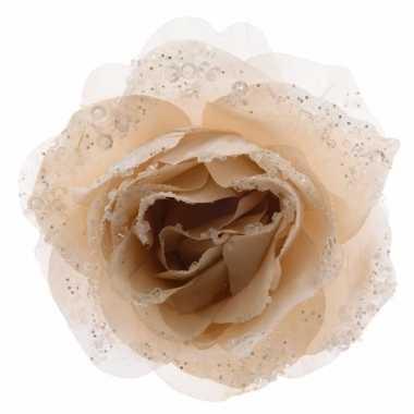 Decoratie kunstbloem roos creme 14 cm