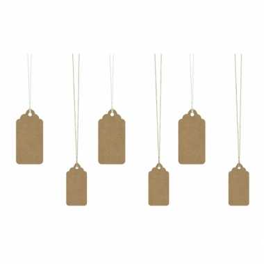 Decoratie labels bruin 6 stuks