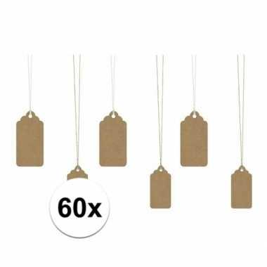 Decoratie labels bruin 60 stuks