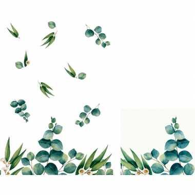 Design thema tafeldecoratie set eucalyptus servetten/tafelkleed