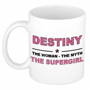 Destiny the woman, the myth the supergirl cadeau koffie mok / thee beker 300 ml