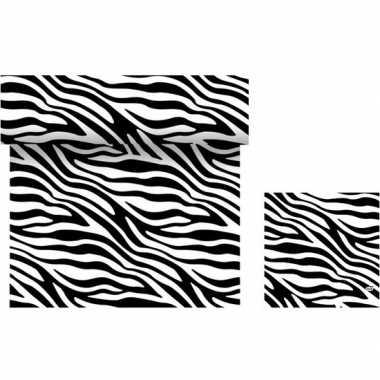 Dieren thema tafeldecoratie set zebra print tafelloper/servetten