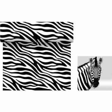 Dieren thema tafeldecoratie set zebra tafelloper/servetten