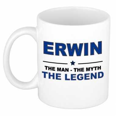 Erwin the man, the myth the legend cadeau koffie mok / thee beker 300 ml