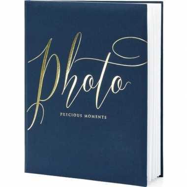 Fotoalbum/fotoboek navy blauw/goud 20 x 25 cm