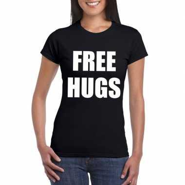 Free hugs tekst t-shirt zwart dames