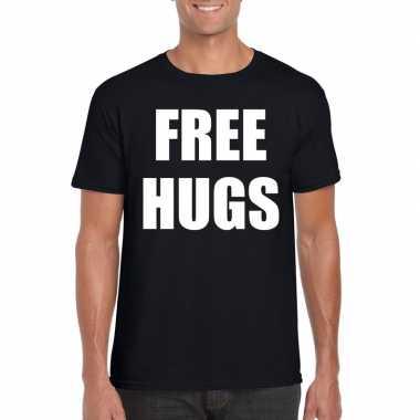 Free hugs tekst t-shirt zwart heren