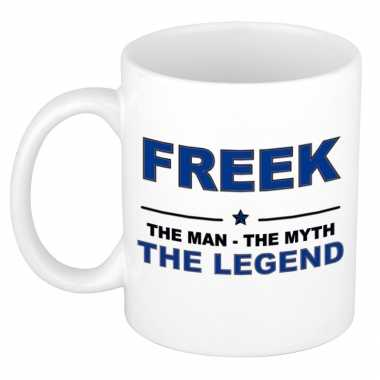 Freek the man, the myth the legend cadeau koffie mok / thee beker 300 ml