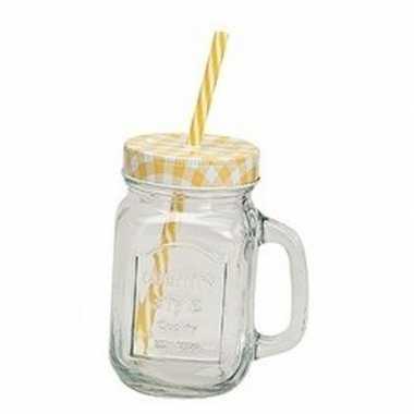 Geel/witte glazen drinkpotje met rietje 450 ml
