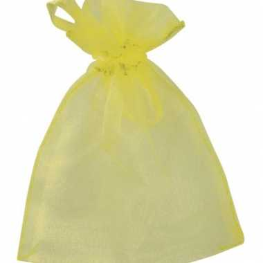 Gele organza zakjes 6 stuks