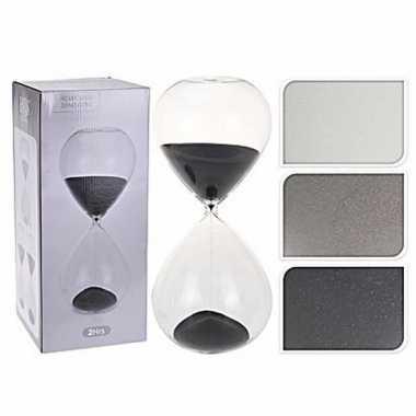 Glazen zandloper grijs 2 uur | Bruiloft-winkel.nl